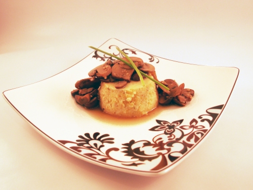 Feta and Rosemary Polenta with Crimini Mushroom Reduction