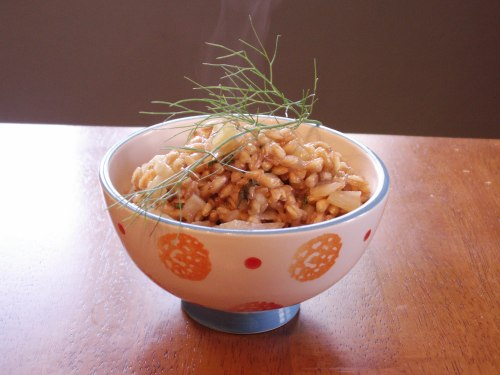 Apple Fennel Farro Pilaf