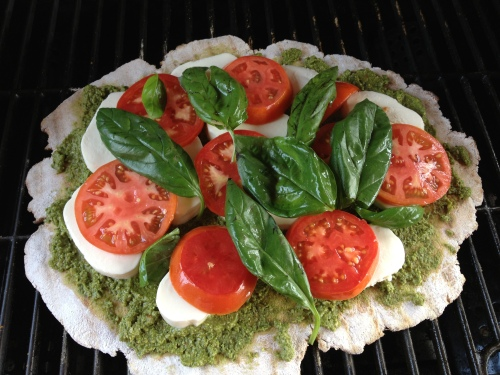 Caprese Pesto Pizza on Grill