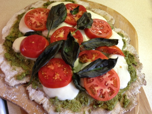 Grilled Caprese Pesto Pizza
