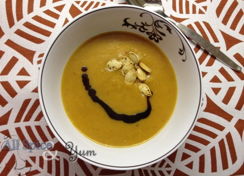 Thai Pumpkin Curry Soup with Garnish