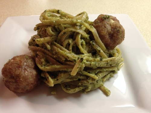 Turkey Meatballs with Pesto Pasta